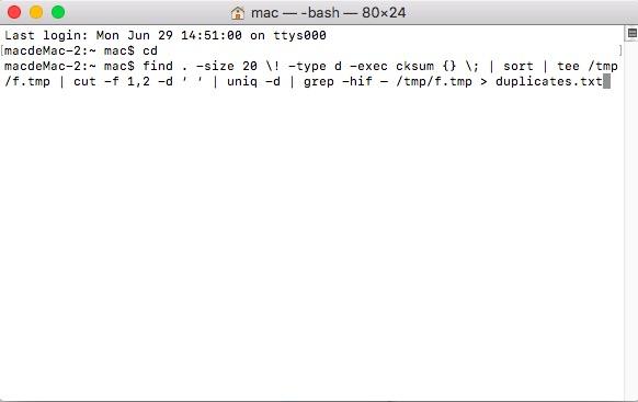 Rechercher un fichier en double à l'aide de la commande Terminal