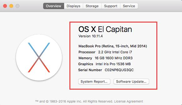 À propos de ce Mac OS X El