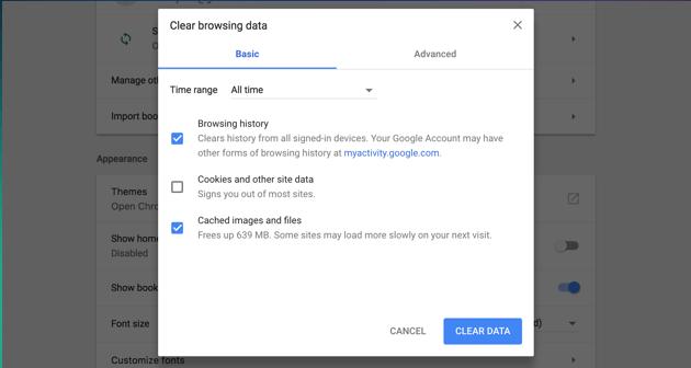 Supprimer le cache sur Chrome