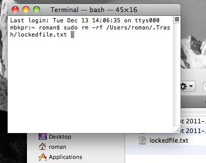 Glisser le fichier dans la corbeille du terminal