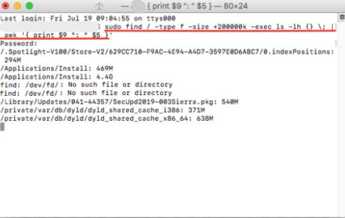 Rechercher des fichiers volumineux sur Mac via le terminal