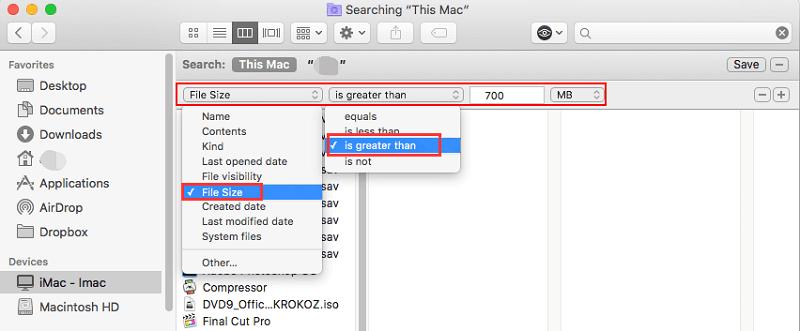 Rechercher des fichiers volumineux sur Mac dans le Finder