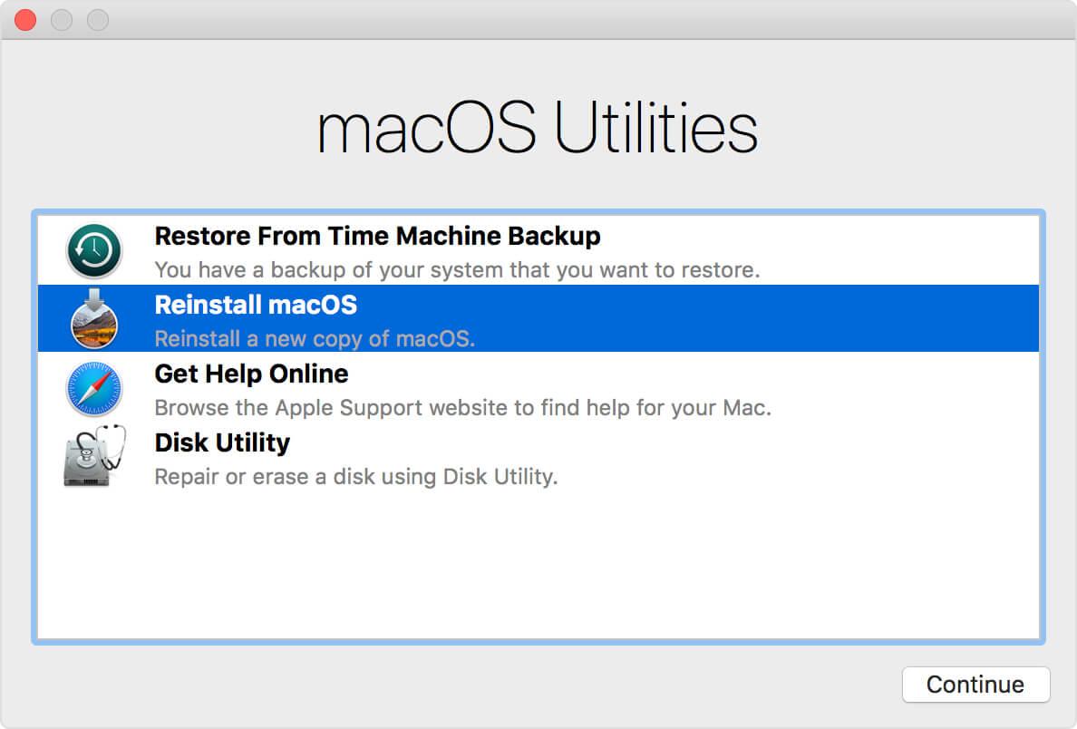 Réinstallez Mac OS