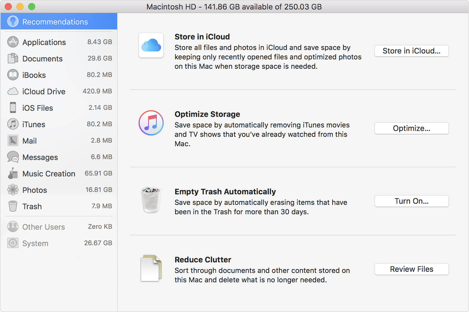 Localisez les fichiers volumineux sur Mac en examinant les fichiers dans Réduire l'encombrement