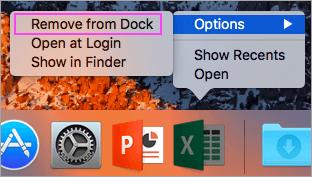 Supprimer les applications Office DE votre Dock