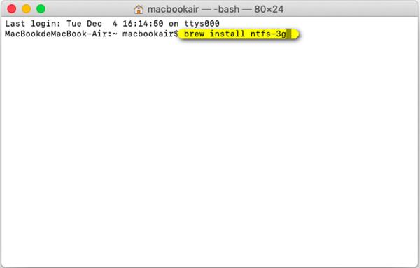 Code d'installation Ntfs 3g